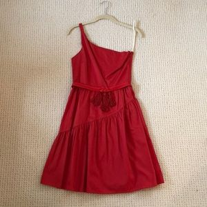 Red Cotton One Shoulder Dress
